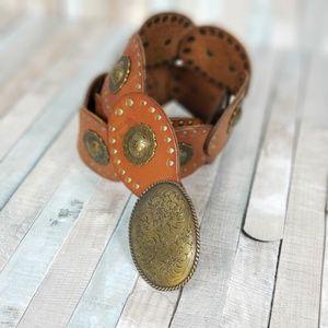 Fossil Genuine Leather Concha Belt - Brown Saddle